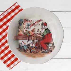Piatto piano artigianale decoro Babbo Natale