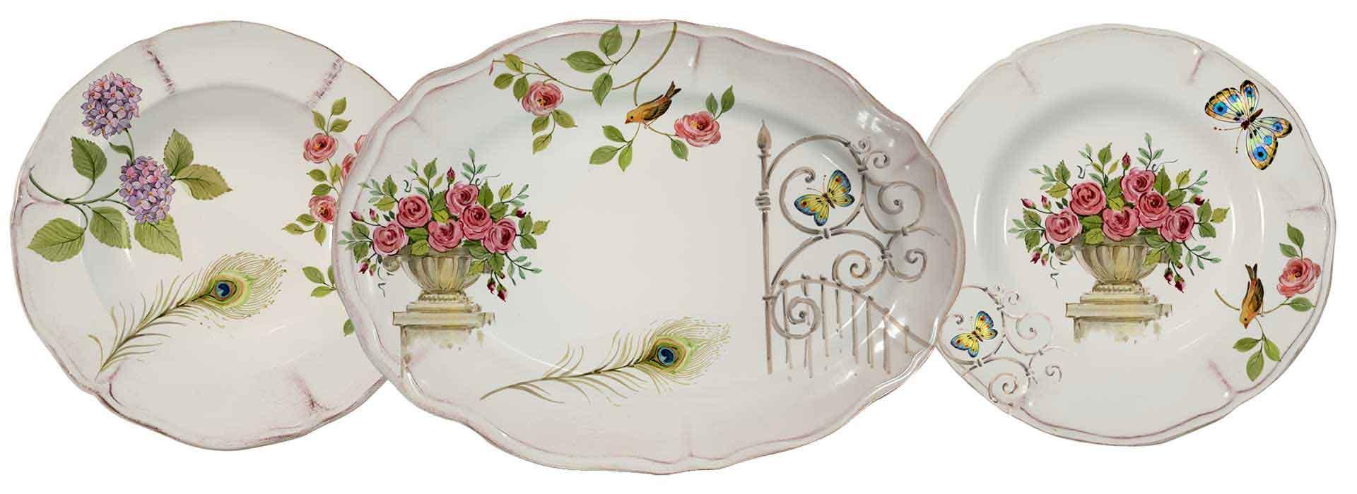 Selezione piatti in ceramica artigianale decoro giardino segreto