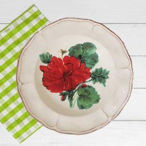 Piatto fondo in ceramica artigianale decoro gerani fiori