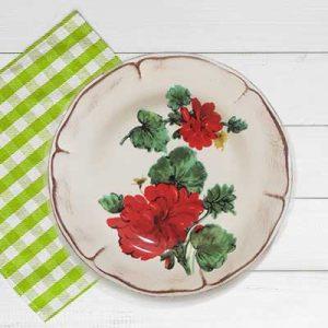 Piatto frutta in ceramica artigianale decoro gerani fiori