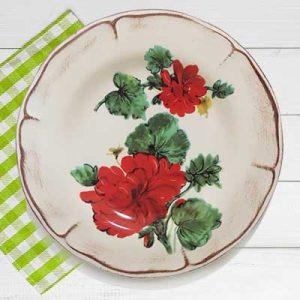 Piatto piano in ceramica artigianale decoro gerani fiori