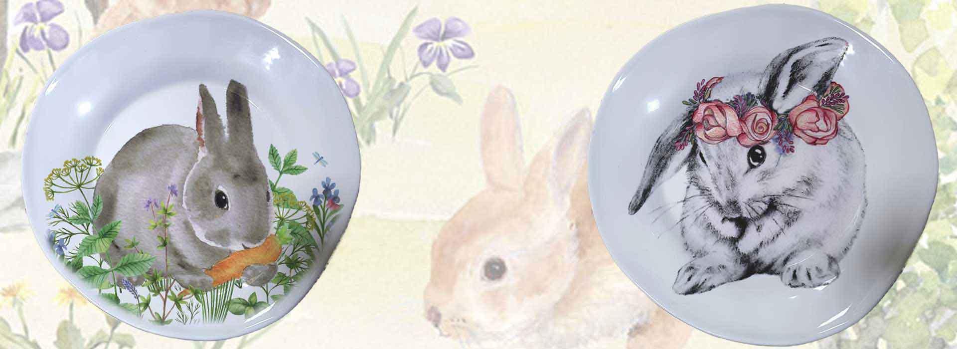 Selezione piatti in ceramica artigianale decoro coniglietto pasquali