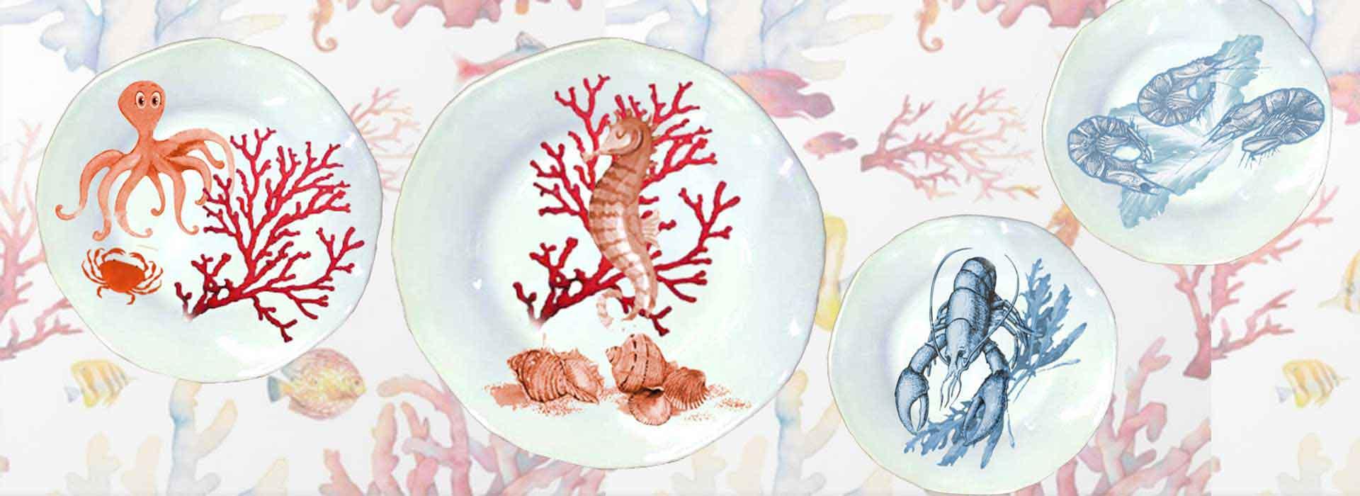 Selezione piatti in ceramica artigianale decoro mare coastal